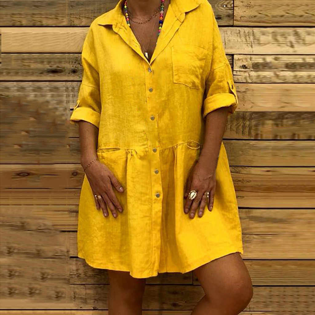 Casual Women Dress Summer 2019 Boho Turn-down Shirt Button Mini Dress Womens Sundress Loose Pocket Button Linen Dress Vestidos