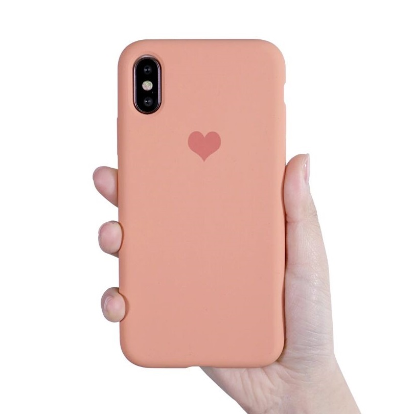 Liquid Silicone Phone Cases For iPhone XR XS Max X 10 Love Heart Case For iPhone 7 Plus 8 7 6 6s Plus XS Max Shockproof Cover in Fitted Cases from Cellphones Telecommunications