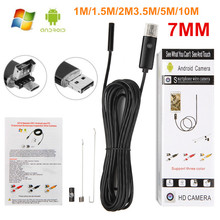 2 IN 1 7MM 0.3MP USB Endoscope Android Mini Sewer Camera Borescope USB Pipe Camera Car Inspection 1M/1.5M/2M/3.5M/5M/10M Cable