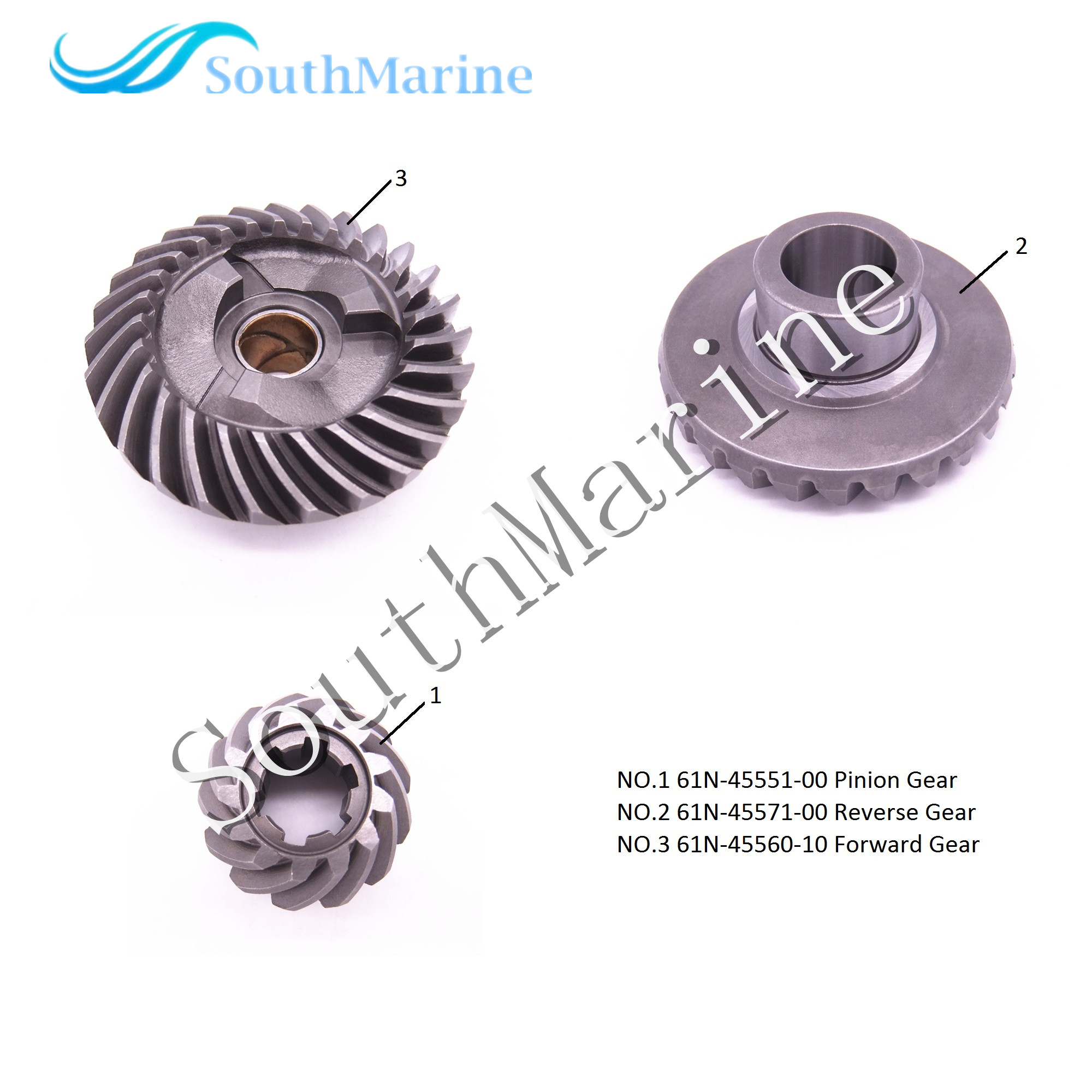 Outboard Engine 61N-45551-00 Pinion & 61N-45571-00 Reverse & 61N-45560-10 Forward Gear for Yamaha F25 E25B E30H 25B 30H she3515wt 00