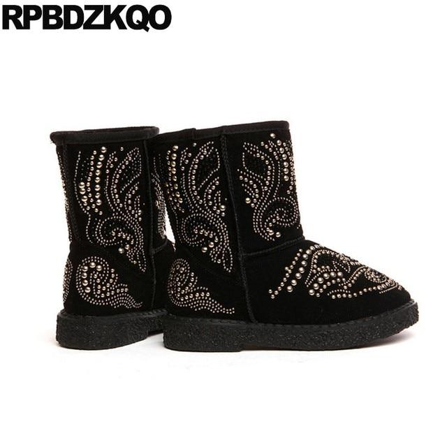Snow Fur Women Boots Winter 2017 Flat Rhinestone Short Suede Black Designer  Rivet Crystal Shoes Slip On Mid Calf Warm Metal Stud