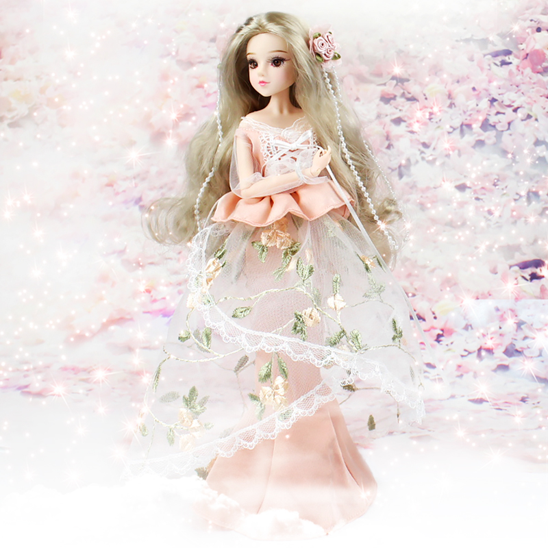 MMG Free shipping Dream Fairy BJD doll 12 constellations Cancer with flower outfit shoes stand necklace 14 joint body toy gift-in Dolls from Toys & Hobbies    2