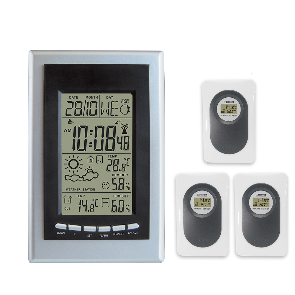 DYKIE Wireless Weather Station RF RCC with Indoor Outdoor Thermometer Hygrometer Weather Forecast Alarm Clock 3 Transmitters