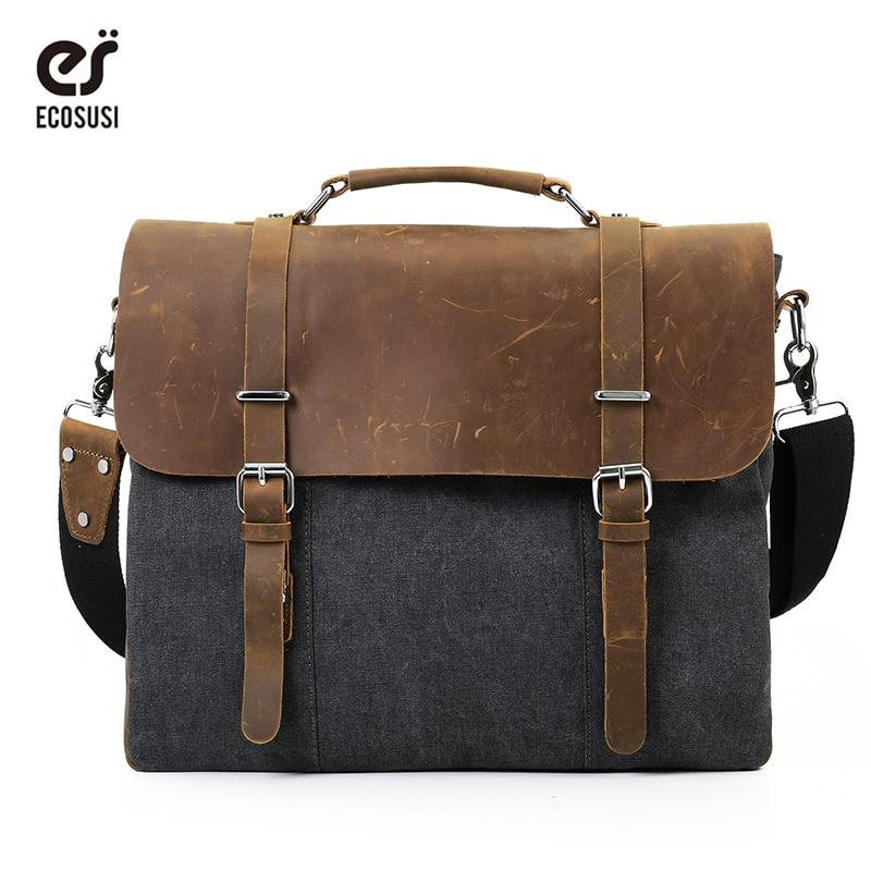 ECOSUSI Men Vintage Canvas Shoulder Bags 15.6 inch Laptop Bag Retro Style Cross Body Messenger Bag Crazy Horse Leather Bags