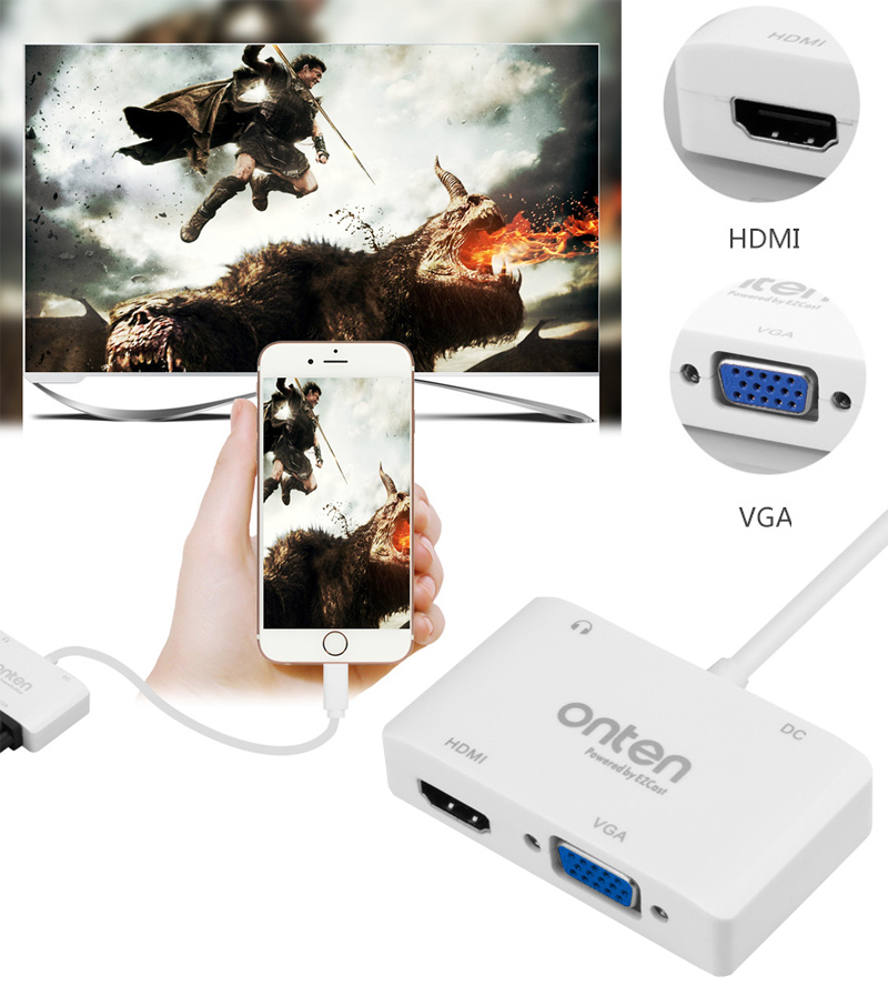 bilder für 2in1 für iPhone zu HDMI TV VGA für iPad Air Pro Mini iPhone 5 5 s 5c 6 6 s 7 Plus Video zu HDMI TV VGA Projektor
