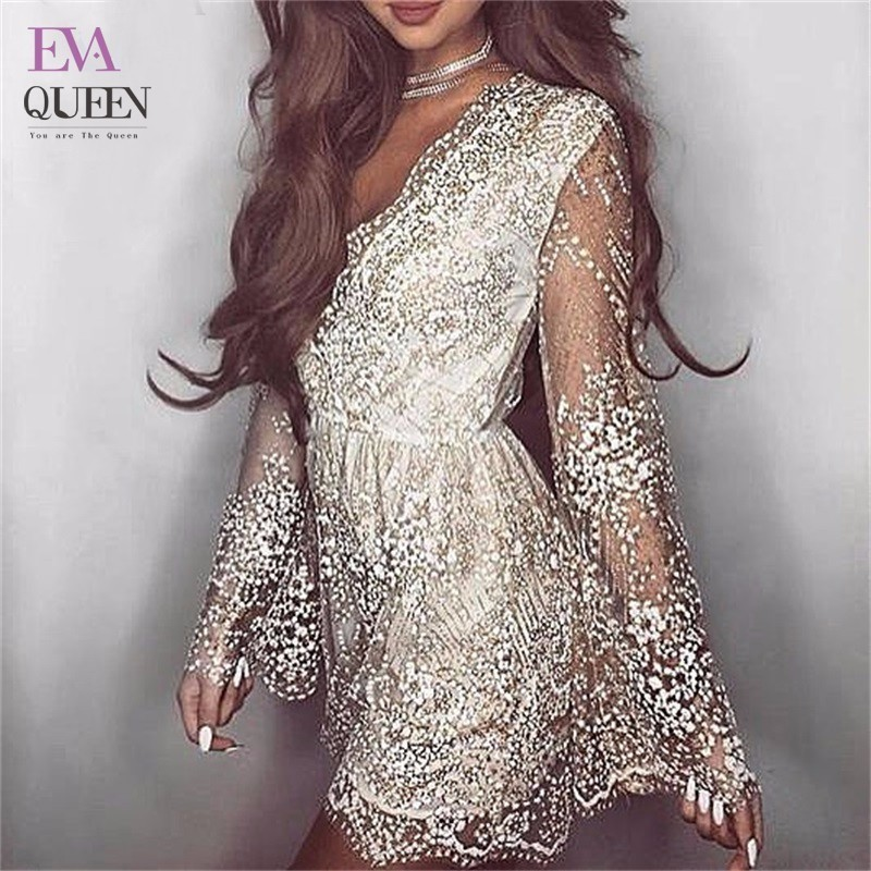 f999b1f401793 Tobinoone V Neck Playsuits Sparkly Bodysuit Sexy Ladies Overalls Sequin  Women Playsuit Short ...