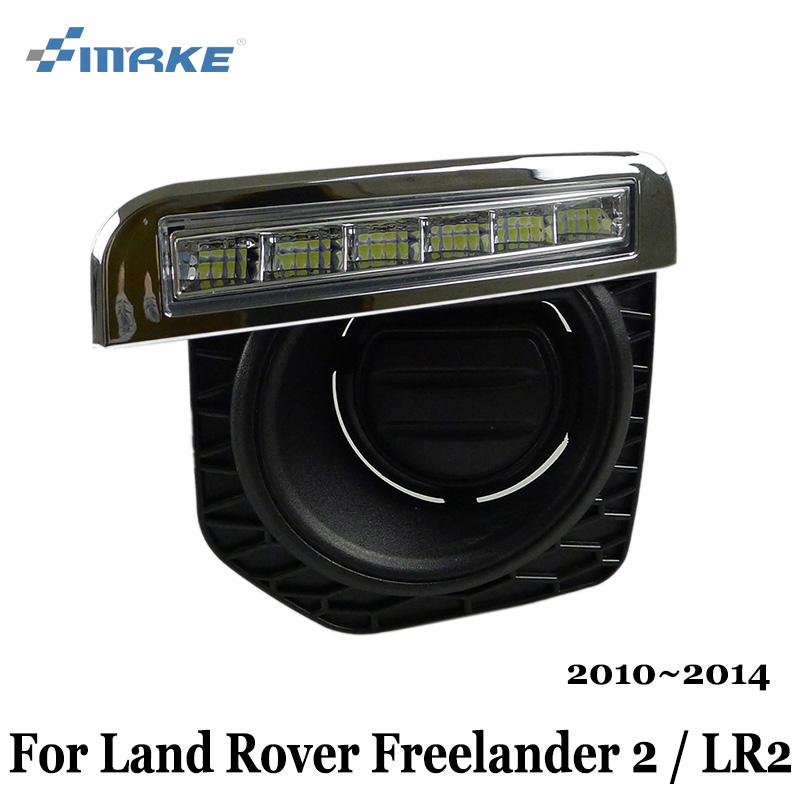 SMRKE DRL For Land Rover Freelander 2 / LR2 2010~2014 / Car LED Daytime Running Lights / Car Styling Day Driving Lamp car styling 2 in 1 led angel eyes drl daytime running lights cut line lens fog lamp for land rover freelander lr2 2007 2014