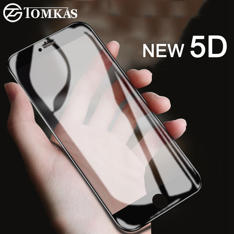 TOMKAS Protective Glass on the For iPhone 6 6S Plus Tempered Screen Protector 5D Protective Glass For iPhone 8 7 Plus X Film 4D