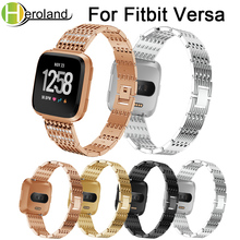 Wrist Band Replacement Stainless Steel Strap For Fitbit Versa band Smart Watch Band Strap bracelet 2018 new fashion with diamond светильник встраиваемый novotech flame 2 nt09 056 369271