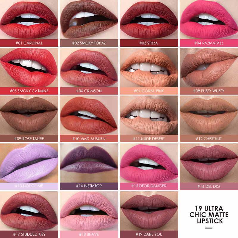 Focallure 27 Colori Rossetto Opaco Impermeabile di Lunga Durata Facile da Indossare Cosmetici Trucco Labbra Rossetto Matita