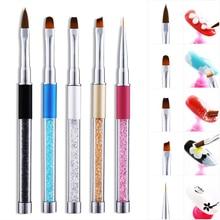 Good Quality Nail Brush Metal Handle With 5 Colors Clear Sharp Bottom Rhinestones Decoration Line Art Pen LPJ01