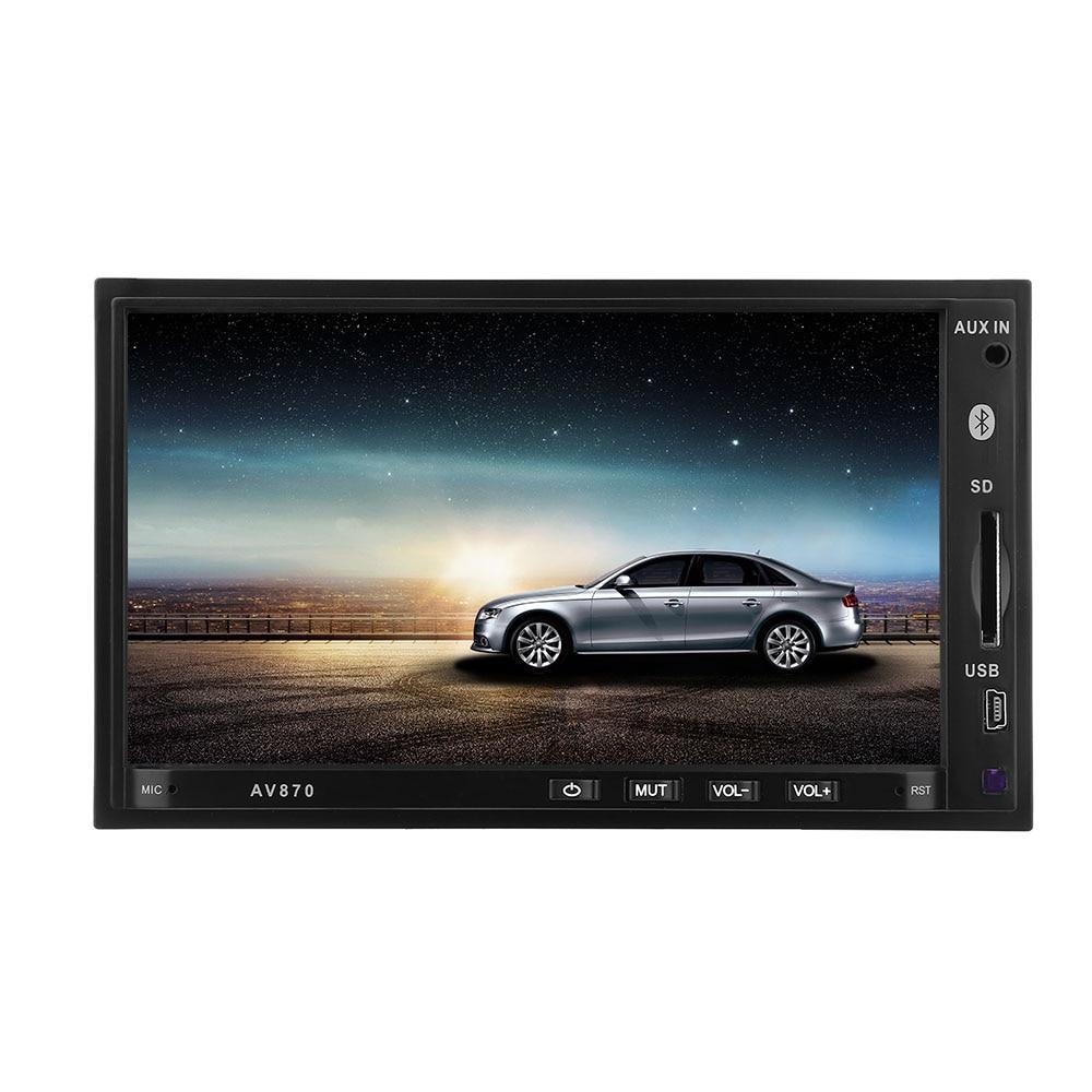 Free Shipping 12V 7 inch Bluetooth 2.1 RDS FM Car DVD MP5 Radio Player av870b 12v car dvd radio rds mp5 player 7 inch with bluetooth 2 1 rds fm am 2 din car dvd mp5 radio player parking sensor
