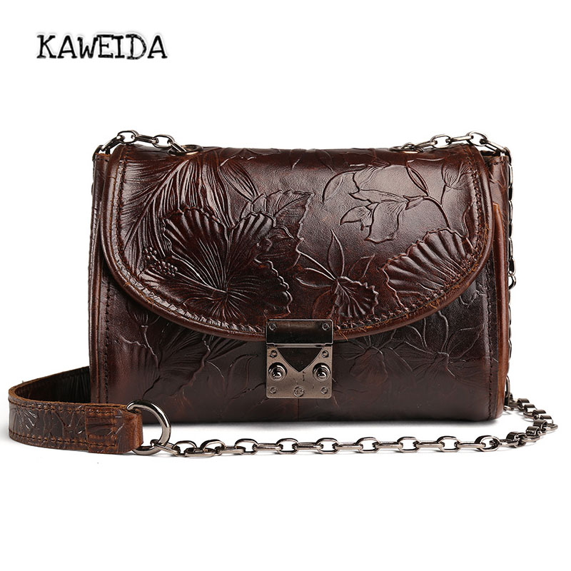 KAWEIDA Small Vintage Leather shoulder bag womens Handbags Crossbody bag Adjustable embossed massage bag dad pocket fob watches chain luxury black
