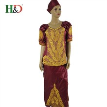 (Free shipping)New African Bazin Dresses for Women Dashiki Traditional Bazin Embroidery Process Turban Top Skirt Set of 3 pieces