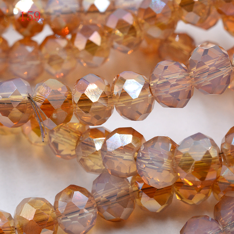 FLTMRH brown Color 8mm 70pcs Rondelle Austria faceted Crystal Glass Beads Loose Spacer Beads for Jewelry Making