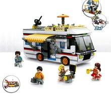 Compatible legoing bâtiment ville vue sur la rue moc bloc Urlaubsreisen Wohnmobil Camping-Car Yacht Ferienhaus 3in1 briques jouets pour enfants
