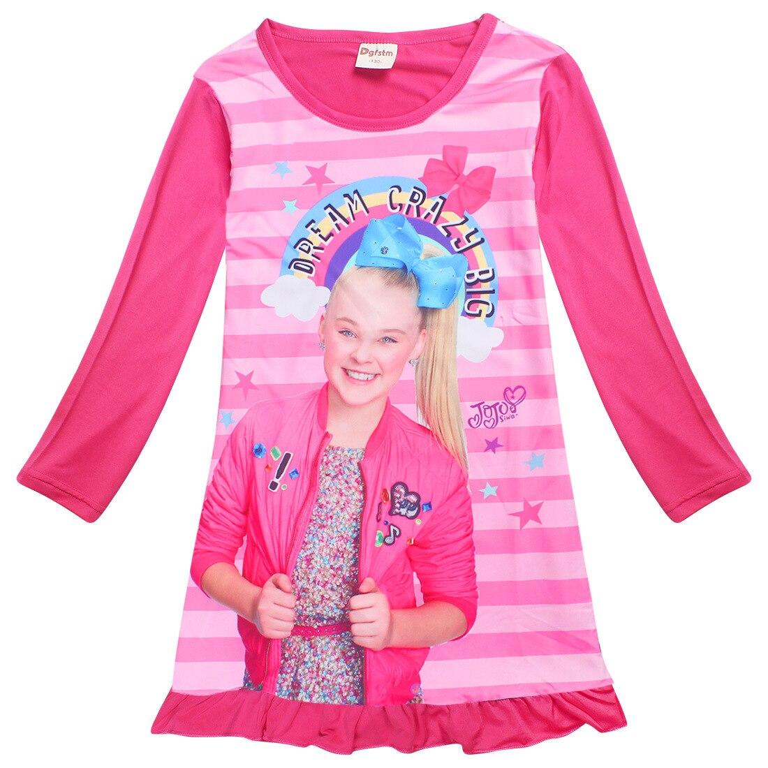 Long Sleeve Jojo Siwa Dresses For Girls Children Clothing Cute Dress