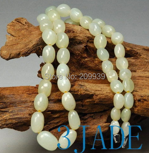 Huij 00308 naturel Hetian Jade néphrite rivière Pebble perles collier