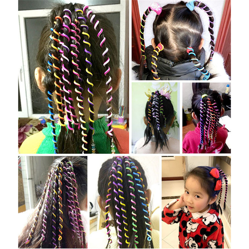 2018 Top Selling 6 Pcs/Set Kids Curler Hair Braid Hair Sticker Baby Girls Decor Hair tools #0418