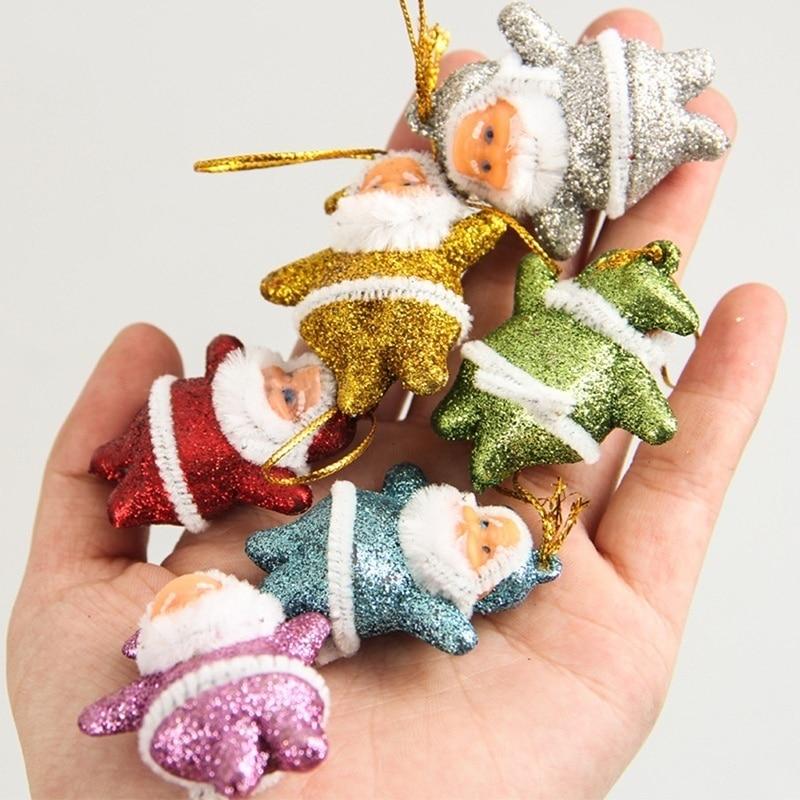 6db / készlet Santa Claus medál Karácsonyi fa dísztárgyak Holiday Fesztivál Ajándék Party lakberendezés Karácsonyi dekoráció kellékek gyerekek játékok