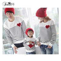 Family Matching Outfits For 3 Families Autumn Clothing 2017 Cotton Red Love Baby Mom Dad Striped