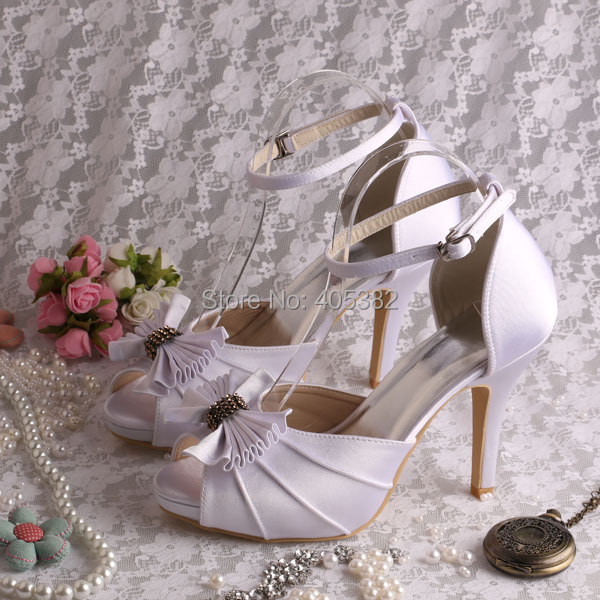 (20 Colors)Ankle-wrap High Heel Lady White Ivory Wedding Bridal Sandals Bows Size 42