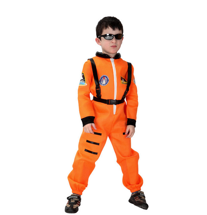 New Fashion Orange Astronaut Cosplay Costume Children Halloween Preformance Show Mask Dance Party Costume For Boy Kids
