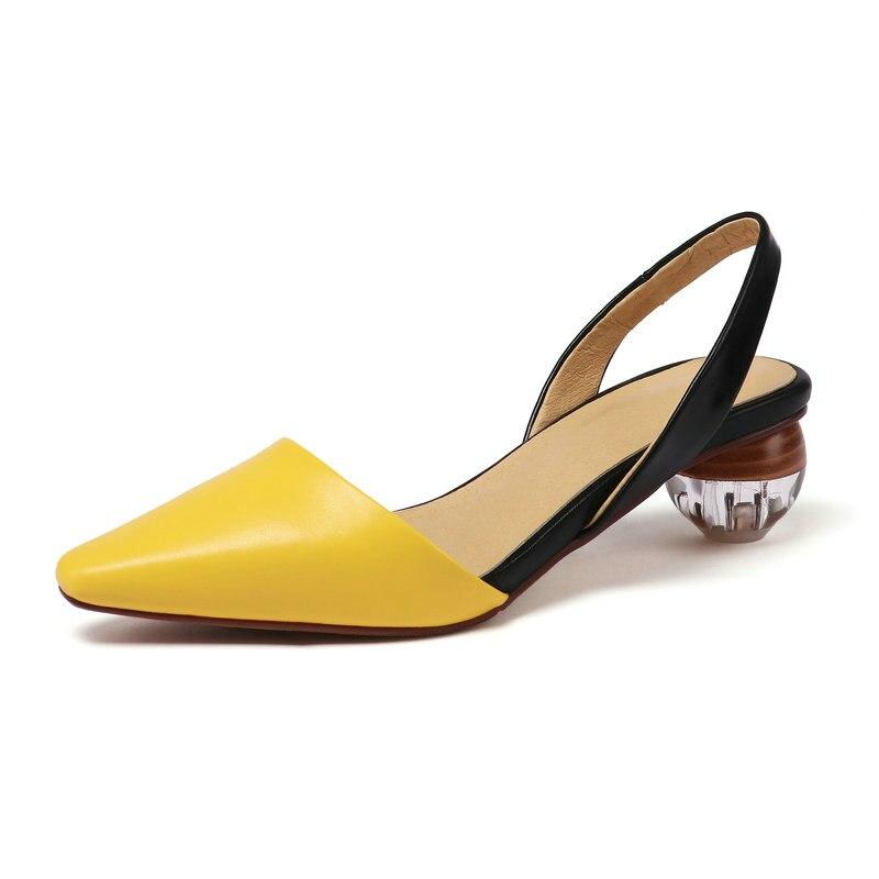 Cuir Étrange blanc Vache Noir 2019 Mode 43 Carré De Chaussures Dames Pompes jaune Profonde Taille Peu En 34 Pu Talon Décontracté Bout Qutaa Femmes Pour wZgqgI