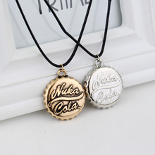 Two Colors Vintage Nuka Cola Necklace with Rope Chain Bottle Cap Shape Necklace for Women and Men
