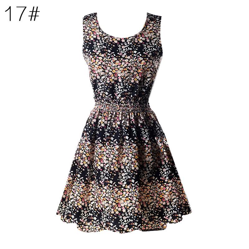 Sexy kobiety chiffon dress sundress plaża floral bez rękawów tank mini sukienki vestido 18