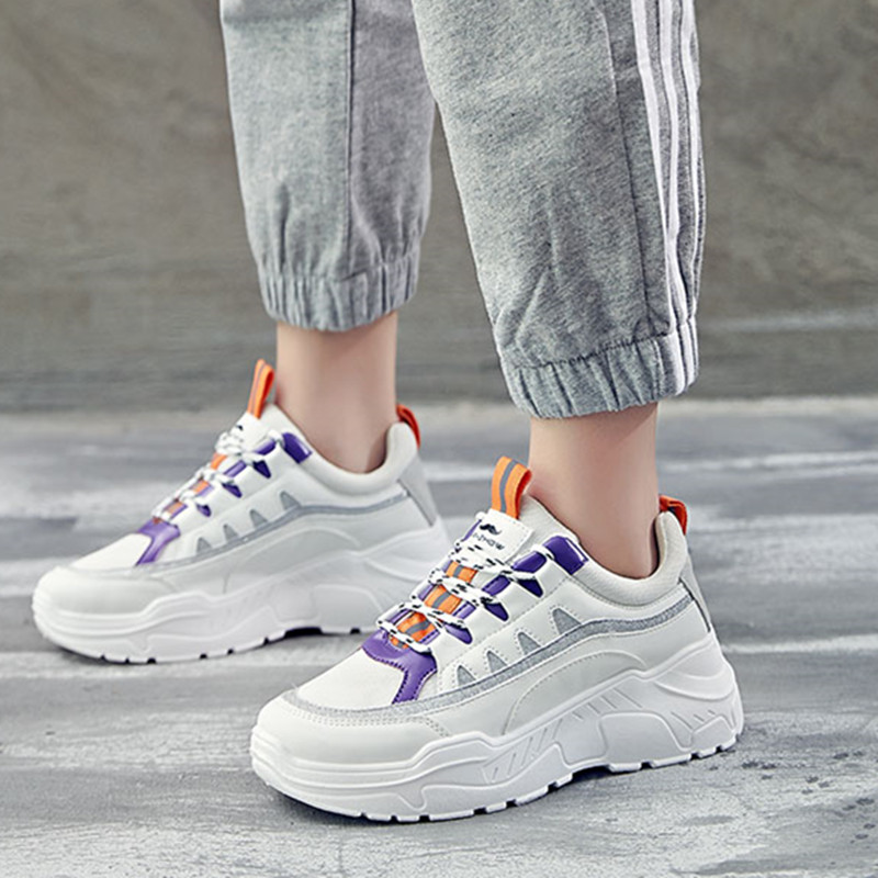 Fashion Platform Shoes Woman 2018 Autumn New Women Sneakers Glitter trainers Trends Ins Women Casual Shoes Lace Up Size 35-40 цены онлайн