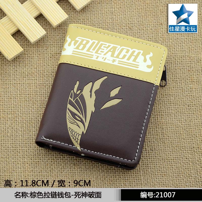 Japanese Anime Bleach Broken Mask PU Short Wallet Purse With Zipper anime evangelion naruto hitman reborn conan shugo chara bleach death note final fantasy pu short wallet purse with zipper