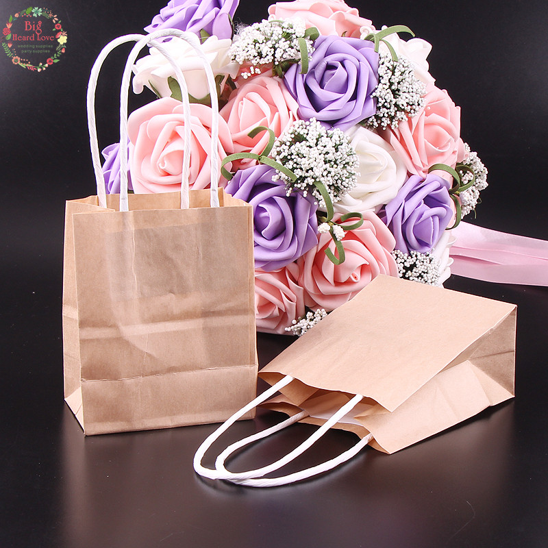 20pcs 9x5.5x11cm Kraft Paper Gift Bags Wedding Candy Packaging Recyclable Jewelry Food Bread Shopping Party Bags Party Supplies