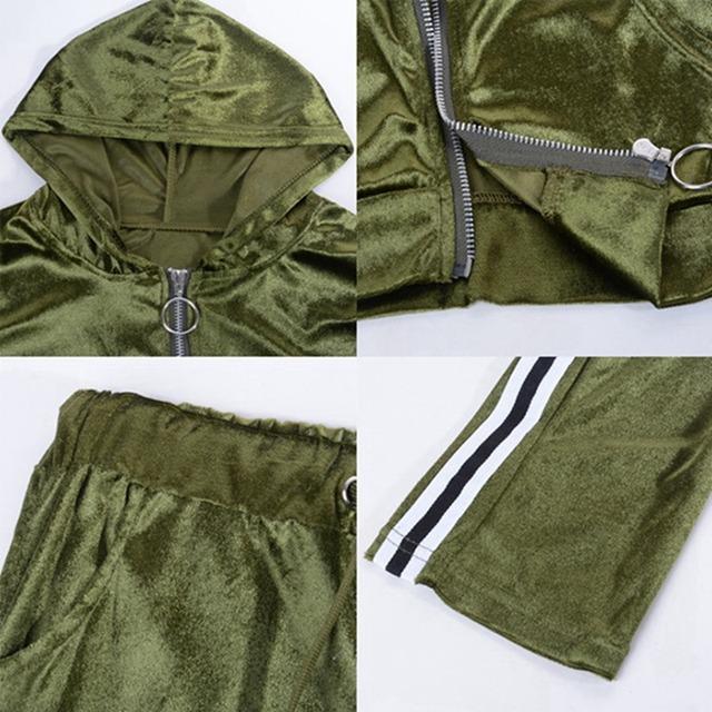 Sportswear Autumn Winter Warm Velvet Tracksuit