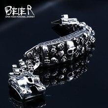 Байер панк рок череп мужские браслеты и браслеты Байкер Высокое качество нержавеющая сталь цепь ювелирные изделия Прямая поставка BC8-059