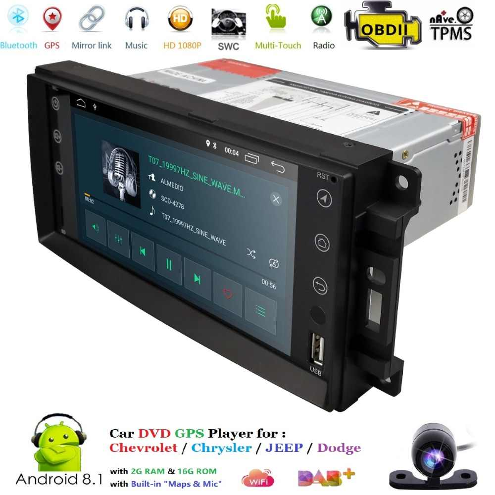 Auto Monitor Android 8.1 GPS Speler Voor Wrangler Compass Grand Cherokee Jeep Patriot Liberty Dodge Caliber Journey Chrysler DVBT