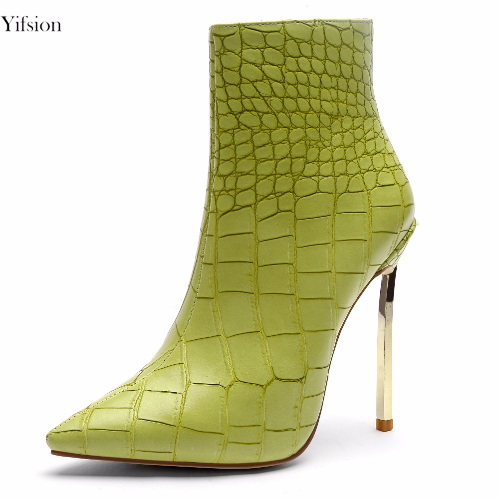 Olomm New Women Winter Ankle Boots Sexy Metal Thin High Heel Boots Pointed Toe Fashion Green