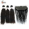 7A Full Frontal Lace Closure 13x4 Malaysian Virgin Hair With Lace Frontal Closure 3 Bundles Deep Curly Virgin Hair With Frontal