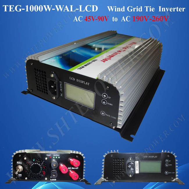 wind grid tied inverter 1000w 3 phase grid tie inverter wind turbine 1kw with lcd display maylar 3 phase input45 90v 1000w wind grid tie pure sine wave inverter for 3 phase 48v 1000wind turbine no need extra controller