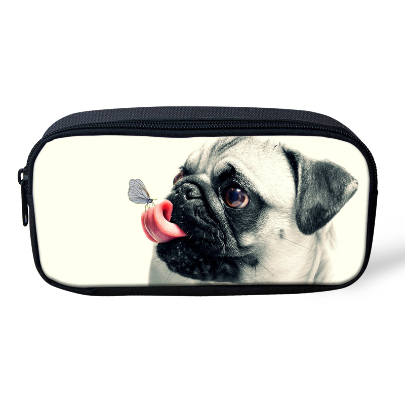 Pouch Bag Pencil Bags For Student Cute 3D Pug Dog Children Pen Box Pencil Holder School Supplies Women Makeup Cases big capacity high quality canvas shark double layers pen pencil holder makeup case bag for school student with combination coded lock