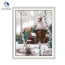 Joy Sunday Winter Scenery Paintings Counted Printed On Canvas DMC Cross Stitch Chinese Needlework Kits Embroidery Sets F726