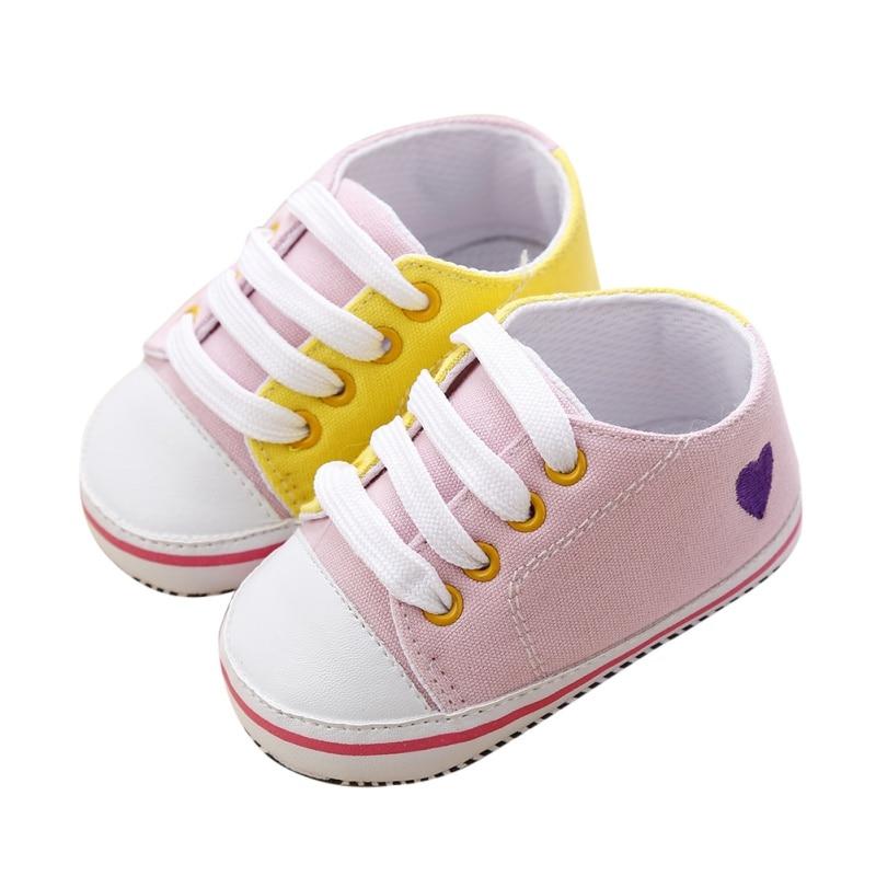 Neue Baby Kleinkind Infant Jungen Casual Splice Weiche Sohle Schnüren Leinwand Prewalker Krippe Schuhe 0-18 Monate