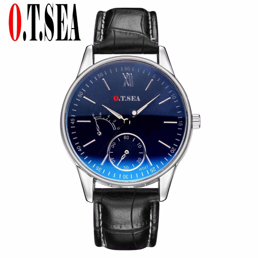 High Quality O.T.SEA Brand Blue Ray Glass Faux Leather Watch Men Sports Quartz Wrist Watches Relogio Masculino W047 faux leather quartz wrist watch