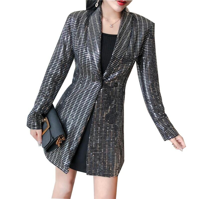 Mode Brillant Revers Bling Blazer Manteau À Col Costume Paillettes Fit Femmes Nouvelles De Slim Club Partie 6PEcX0