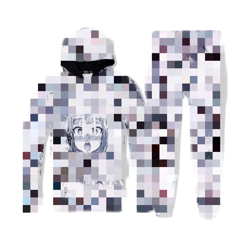 Hot 2 Piece Set Men And Women Casual Tracksuits 3D Print Ahegao Manga Fashion Hoodies Hooded+Pants Sweatshirt Track Suit