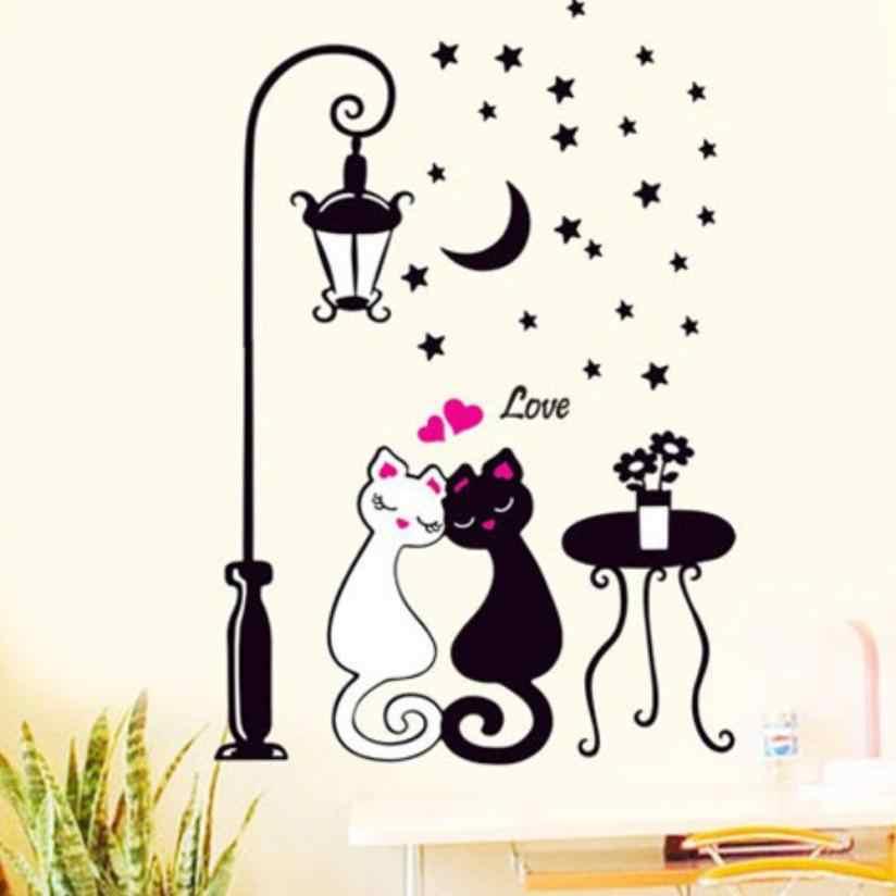 Популярный Домашний декор, Настенная Наклейка для гостиной, спальни, влюбленные кошки, Уличные светильники, обои, черный и белый кот, наклейка Aug10
