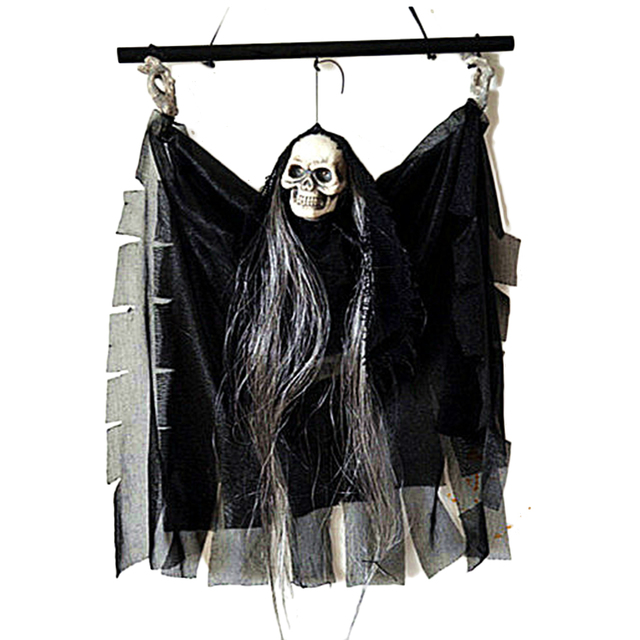 US $14 36  Voice Activated Hanging Skull Skeleton Devil Ghost with Glowing  Red Eyes Sound Effects Halloween Props Party Bar KTV Decoration-in Party