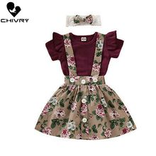Chivry 3Pcs Cute Newborn Baby Girls Frill Tops Romper with Floral Dress Skirt Headband Outfits Infant Baby Girls Clothes Set