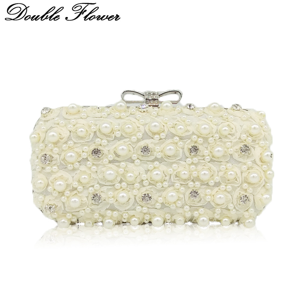 Double Flower Rose Bush Beaded Crystal Women Lace Evening Bags Hard Case Metal Clutches Bridal Wedding Party Handbag Purse