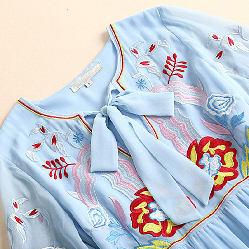 Fête Femmes Haute Vintage Mode Été Robe Elégant Douce 2018 Chic Nouvelles Robes Pu En Boho Ciel De Plage Longues Qualité Broderie Soie Mousseline Ewqxpz0